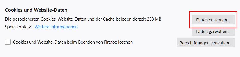 Firefox - Browserdaten löschen